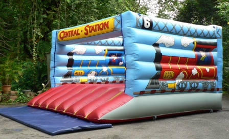 birthday party train inflatables